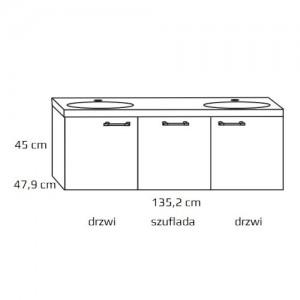 Szafka z umywalką podwójną {Antado Sycylia KTS-140 135,2×47,9×45 cm}