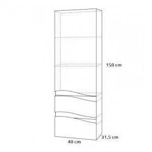 Regał wysoki {Antado Wave VA-160 grafit 40×31,5×150 cm}