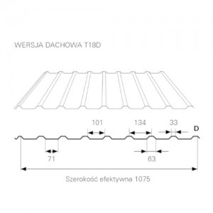 Blacha trapezowa {Blachprofil 2 T18D MAT 35 Standard Antykondensacyjna gr.0,5mm TK 750 1075mm}