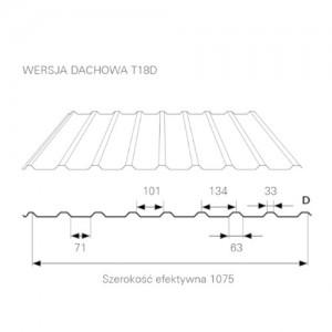 Blacha trapezowa {Blachprofil 2 T18D Poliester Standard Antykondensacyjna gr.0,5mm czerwony ognisty 1075mm}