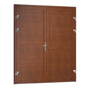 Drzwi garażowe dwuskrzydłowe {Krispol DG RCS poziome tłoczenie wąskie}