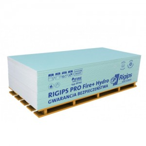 Płyta impregnowana ogniochronna {Rigips Pro fire plus hydro typ DFH2 GKFI 12,5 mm}