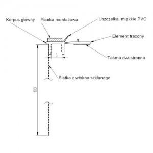 Listwa dylatacyjna przyokienna z siatką i uszczelką {Bella Plast BP13 L300 PCV 3000mm}