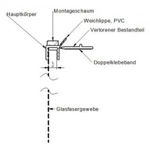Listwa dylatacyjna przyokienna z siatką i uszczelką {Bella Plast BP13 MINI U L250 PCV 2500mm}
