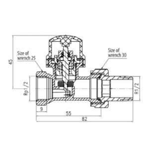 Zawór termostatyczny prosty niklowany {Valvex IRIS}