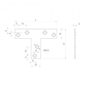 Złącze płaskie typu T {Koelner D-T 70x50x16 mm}